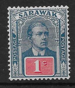 SARAWAK SG50a 1918 1c DULL BLUE & CARMINE MTD MINT