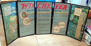 Original Winchester 5 Panel Fishing Tackle Display, Framed, C. 1924