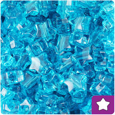 250 Turquoise Transparent 13mm Star Pony Beads Plastic Made in the USA