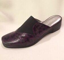 New Andiamo Wanita Dark Purple Slides Mules Wedge Animal Print 8.5 W