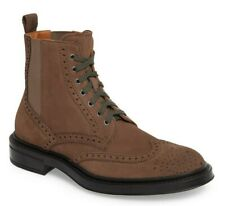 Aquatalia Lawrence Mens Weatherproof Suede Wingtip Ankle Boot DARK TAUPE Size 10