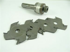 """LOT OF 4 CARBIDE TIPPED MILLING CUTTERS 2"""" X 1/16"""" X 5/16"""" W/ ARBOR"""