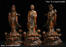Old Tibet Buddhism Boxwood Wood Carved Sakyamuni GuanYin West Buddha Statue Set