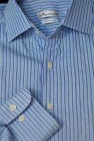Peter Millar Men's Shades of Blue White Stripe Cotton Casual Shirt L Large