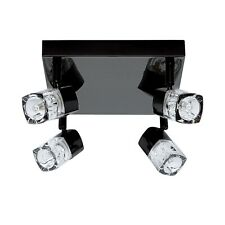 Searchlight Blocs 4 Lights LED Black Chrome Clear Glass Ceiling Plate Spotlight