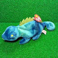 NEW Ty Beanie Baby Iggy Neon Blue Iguana No Tongue Spine Hang Tag FREE Shipping