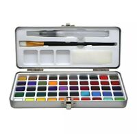50 Colors Watercolor Paint Set Portable Metal Box Pigment Art Paint Draw Travel