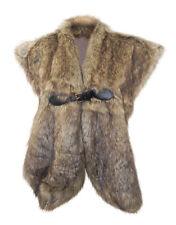 John Rocha SONTUOSA marrone pelliccia finta colletto/STOLA pelle LOOK fibbia