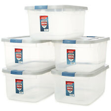 Rubbermaid Clear Storage Container Tote Box Lid Bin Organizer Stackable 50-Quart