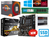 AMD Ryzen 4 Core 3.7GHz MSI A320M PRO Gaming Motherboard Bundle 16GB RAM SSD