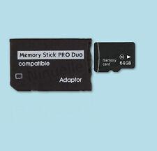 Memory Stick Pro Duo Adapter 64 GB + microsd Class 10 Speicherkarte 64GB