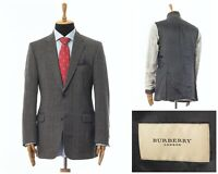 Mens BURBERRY Blazer Coat Jacket Two Button Wool Checked Grey Size 42 52 102