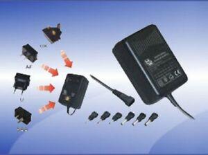 Wall-plug Power Supply, regulated, 3V/4.5V/6V/7.5V/9V/12V DC