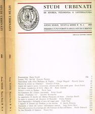 STUDI URBINATI DI STORIA, FILOSOFIA E LETTERATURA anno XXXIX nuova serie B n.1-2