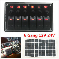 6 Gang LED Rocker Switch Panel Circuit Breakers Charger 12V 24V Car Boat Marine
