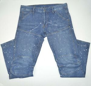 G-STAR RAW 5620 Decon Tapered 3D Art Paint Low Waist Cotton Blue Jeans 32 x 32