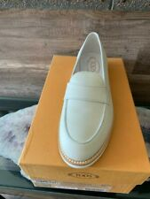 Tods WoMen's Leather Loafers - Porcelain / White- Size 38.5 UK / 8 US new in box