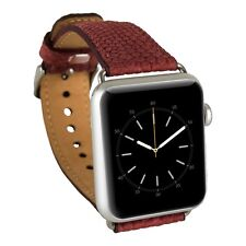 Apple Watch Genuine Leather Band Straps 38mm for Series1/2 Silver Adapters Red