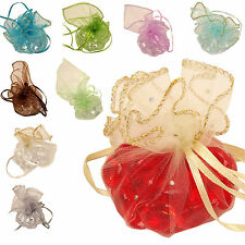 50x Ruffle Top Drawstring Organza Voile Pouch! Wedding Jewellery Favour Box Bag