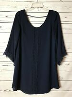 ASTR Anthropologie Women's S Small Navy Blue Lace Tunic Shirt Top Blouse Career