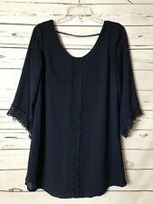 Anthropologie ASTR Navy Lace Tunic Shirt Top Blouse Career Women's Size S Small