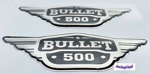 BULLET 500CC BADGE SILVER STICKER DECAL FOR ROYAL ENFIELD BULLET