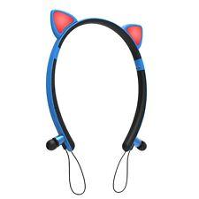 Wireless Bluetooth Cat Ear Headset Neckband 4.2Magnetic Earplug Stereo Headphone