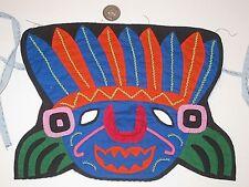 HALLOWEEN MASK GYPSY BOHO MASQUERADE VIVID CLOTH OOAK TRIBAL INDIAN APPLIQUE EUC