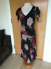 Ladies CC COUNTRY CASUALS Dress Size 18 PETITE Black Floral Mother Of Bride