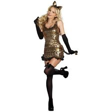 Dreamgirl Sexy CAT WALK KITTY Adult Costume -S, Leopard Gold Sequin Dress -NEW