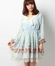 1059.BNWT!axes femme mint-blue floral pattern fairytail dress with elegant lace
