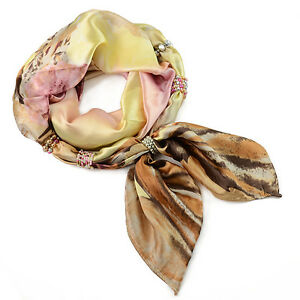 CHOOSE COLOR! Silk Scarf with Beaded Elements Florina 60x176cm
