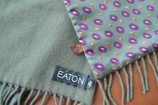 Vintage signed Eaton olive green wool and silk men's neckerchief purple accent