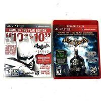PS3 Batman Arkham Asylum & Arkham City GOTY Editions W/3D Glasses