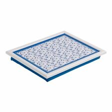 Premier Housewares 44x34cm Blue Rose Design Padded Cushioned Food Lap Tray