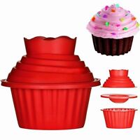 GIANT CUPCAKE MOULD 3pc SILICONE JUMBO BIRTHDAY MEGA BIGTOP CUP CAKE BAKE BAKING