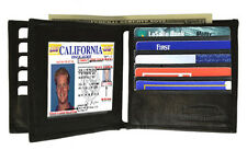 BLACK MENS LEATHER BIFOLD BIG TALL Hipster Bifold Center Flap WALLET CARD HOLDER