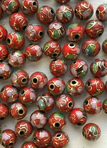 50 - 8mm Round Vintage Red Cloisonne Beads - Fully Drilled - Beautiful