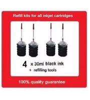 4 x Refill Kits for HP65 N9K02AA black ink Cartridges for HP Deskjet 2621,3721