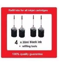 4 x Refill Kits for HP63 F6U62AA black ink Cartridges for HP Envy 4520,4523