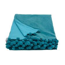 Velvet Throw with Pom Pom Trim, Home Accessories, Choice of Colours