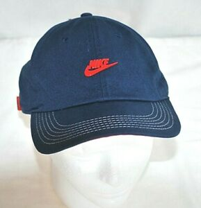 NIKE Blue/Red Baseball Cap Adjustable Strap 1 Size Fit Most Youth Boys Girls New