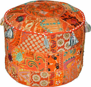 """Patchwork Indian Round Pouf Cover Bohemian Ottoman Embroidered 22"""" Orange Cover"""