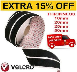 Sticky VELCRO Strips Genuine Brand PS14 Hook & Loop Self Adhesive Black & White