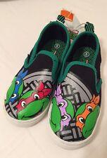 NEW TEENAGE MUTANT NINJA TURTLES Slip On Boat Shoes Toddler Boy SIZE 7 Black