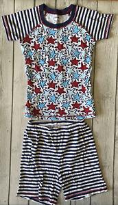 Gymboree Unisex Girls Boys Size 10 Red, White & Blue Stars & Stripes Pajamas PJs