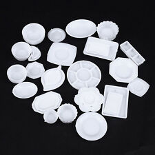 33x Miniature 1/12 Scale Dollhouse Tableware Kitchen Plastic Plates Kids Toys