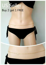 Women Waist Chain Belly Bikini Body Jewelry Rhinestone Back Chain Beach Style G