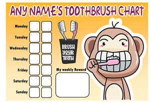 Personalised Toothbrush Chart - Comes with pen - Reward Chart - Teeth Cleaning