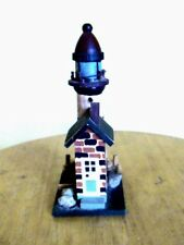BRICK HOUSE WITH LIGHTHOUSE WOODEN FIGURINE